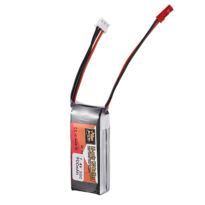 FFYY-Zop Power 7.4V 900Mah 50C 2S 1P Lipo Battery Jst Plug Rechargeable For Rc Racing Drone Quadcopter Helicopter Car Boat Par