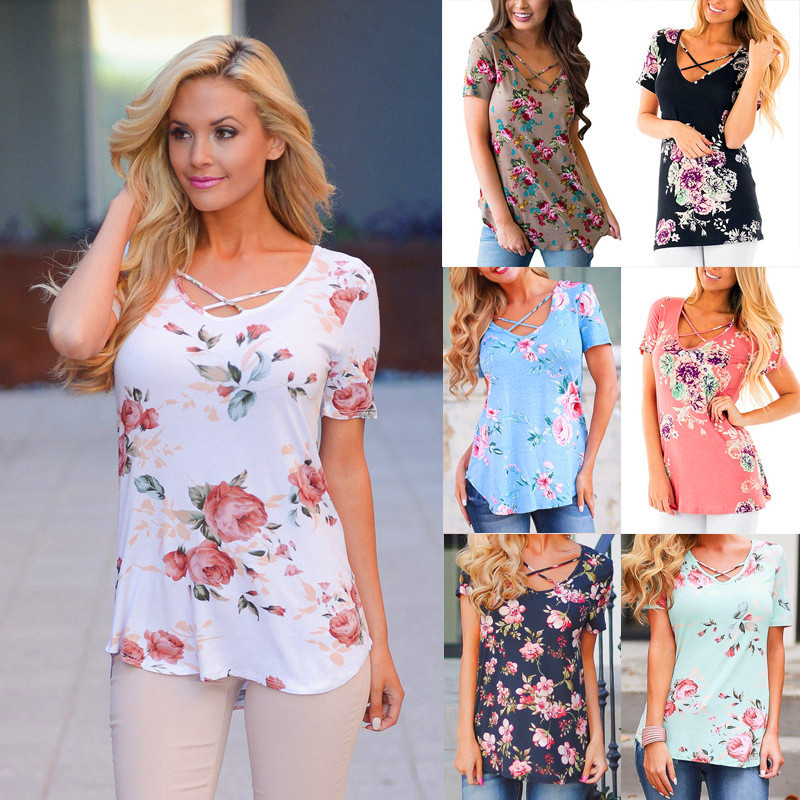 S-5XL Spring 2018 Casual Fashion Women T-shirts V-neck Short Sleeve Printed Shirt Loose Package Hip Women Clothing Female Tops