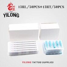 (13RL+13RT) 50 PCS Disposable Sterile Tattoo Needle+50PCS Blue Disposable Tattoo Tips Tattoo Needle Product