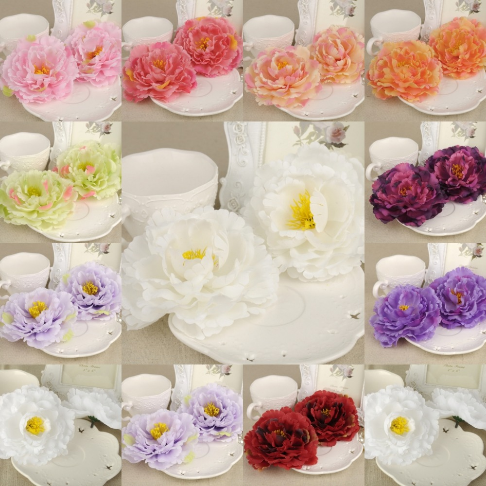 50Pcs Artificial Silk Flower Heads Peony 12cm For Hair Favors Wedding Party Home Decor