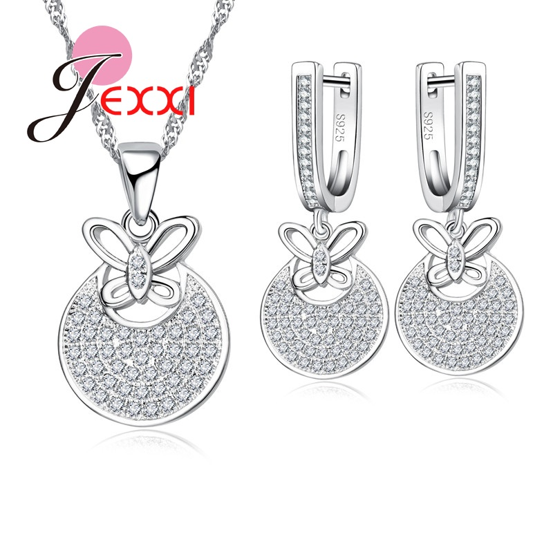 Pendant Necklace Earrings-Set Stamped Cubic-Zirconia Bow-Knot-Design Micro Silver Hoop