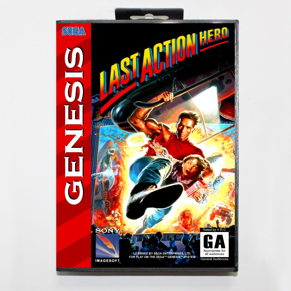 16 bit Sega MD game Cartridge with Retail box - Last Action Hero game cart for Megadrive for Genesis system