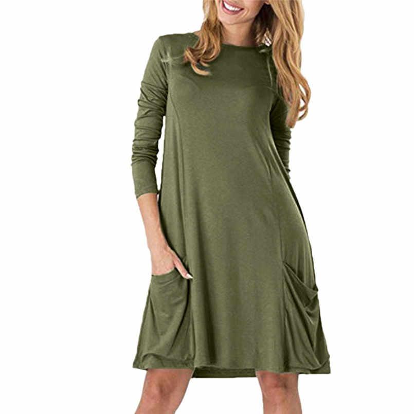 05b435fde3cd Large Size Thin Women s Casual Pockets Plain Flowy Simple Swing T-Shirt  Loose Dress Ladies