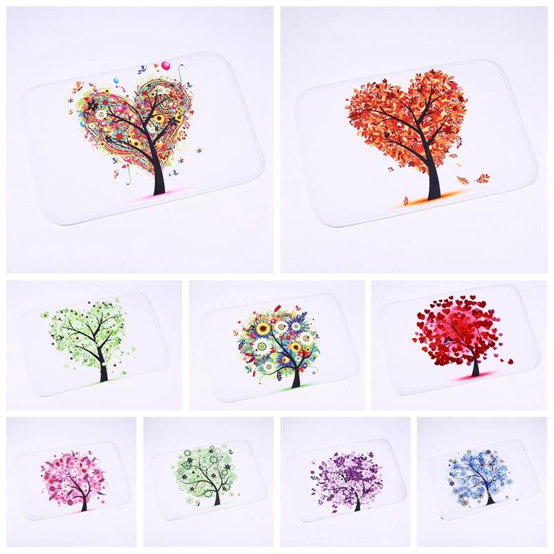 Non-Slip Carpet Heart Tree Pattern Printed Waterproof Floor Mat Rugs Ground Rectangular Mats Bathroom Accessories 40*60cm