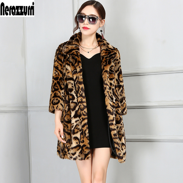 Nerazzurri Luxury Faux Fur Jacket Women 2017 Winter Leopard Coat Oversized Furry Fluffy Fake Fur Coats Plus Size 4XL 5XL 6XL 7XL