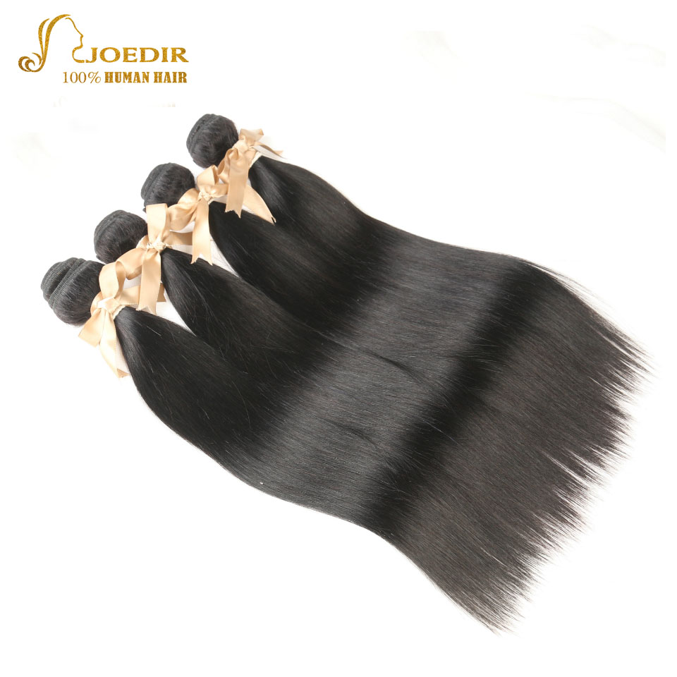 Joedir Straight Hair Bundles Indian Yaki Hair Weave Bundles 100% Human Hair 4 PCS Non Remy Hair Extensions 8-26 Natural Black