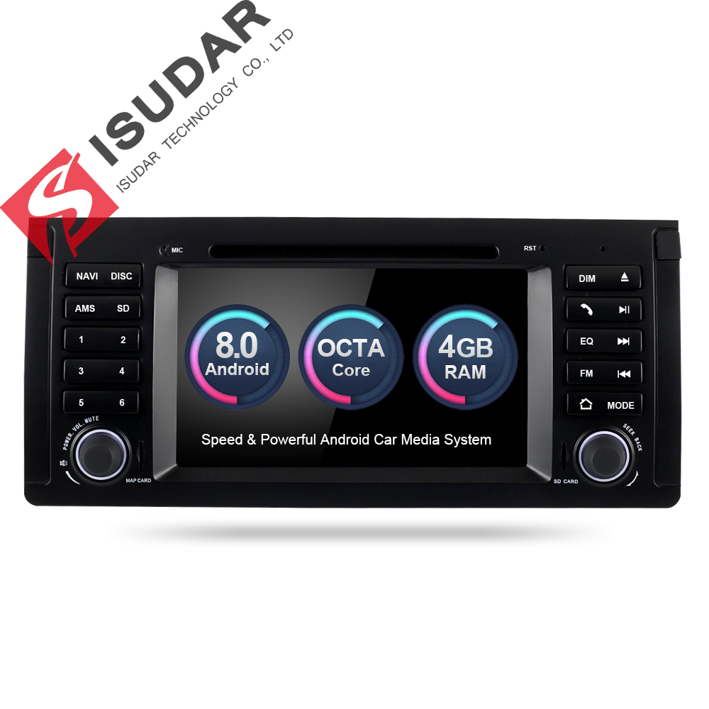 Isudar Car Multimedia Player GPS Android 8.0 Autoradio For BMW/E39/X5/M5/E53 Octa Core Car Radio 1 Din DSP Rear view camera DVR цена 2017