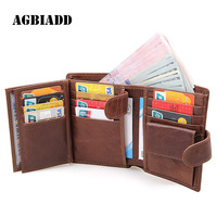 AGBIADD Genuine Leather Men Wallet Three Fold RFID Wallet Purse Business Card Holder With Coin Bag