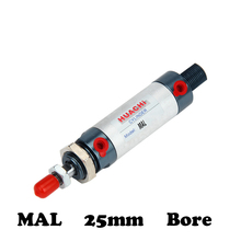Free shipping MAL  25mm Bore 25/50/75/100/125/150/175/200/250/300/400/500mm Stroke Manufacturers sell direct air cylinders