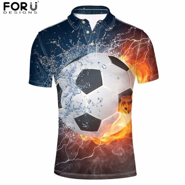 FORUDESIGNS Polo camisa hombre elegante fuego Footballs impreso Manly ropa  botón manga corta Hombre Cool Crops 9d93e5bab10e9