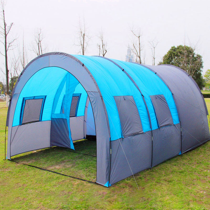 10 Person 480*310*210cm Large Camping Tent Outdoor Tunnel Tents One Bedroom & 2 Living Room Waterproof Family Trave Tienda