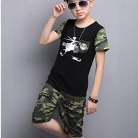 2017 New Summer Boys Girls Kid Camouflage Handsome Fashion Casual Suits T Shirt Shorts Suits Baby