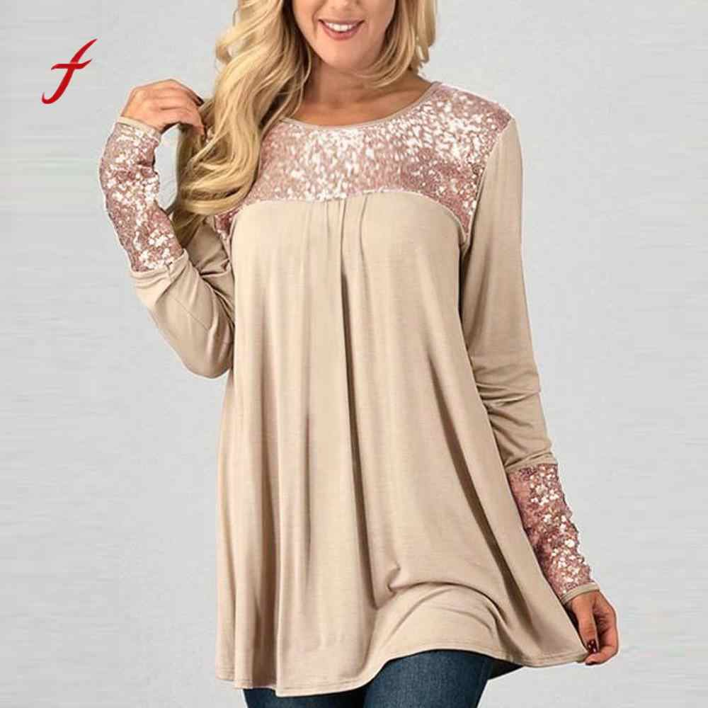 Sequins Plus Size Splice Patchwork Womens Tops Casual Loose Pullover Shirt Fashion Female Spring Full Sleeve O-Neck Clothes