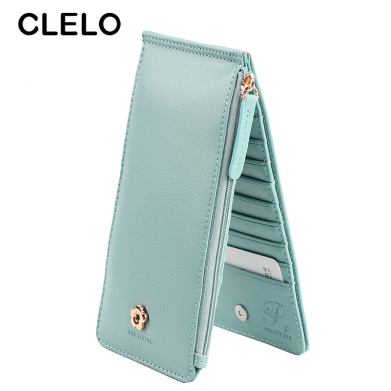 CLELO Women Wallet Long Purse Fashion Multi Cards Holder Clutch Korean Style Multi-functional Thin Standard Wallet ledai wallet girl long style thin personality the japanese and korean students snake skin original women clutch bag