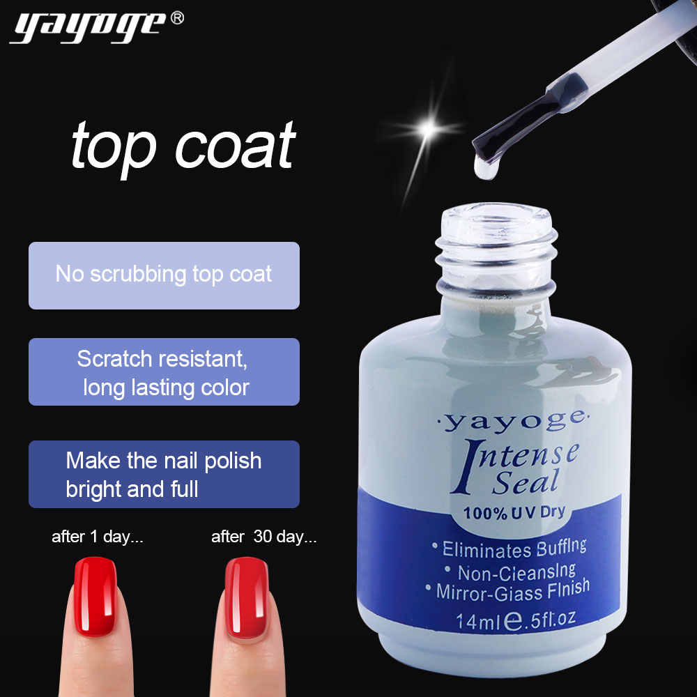 Yayoge 14ml base y top coat Primer UV gel base para uñas Bonder y sellado intenso rápido Gel seco base de esmalte para uñas de arte