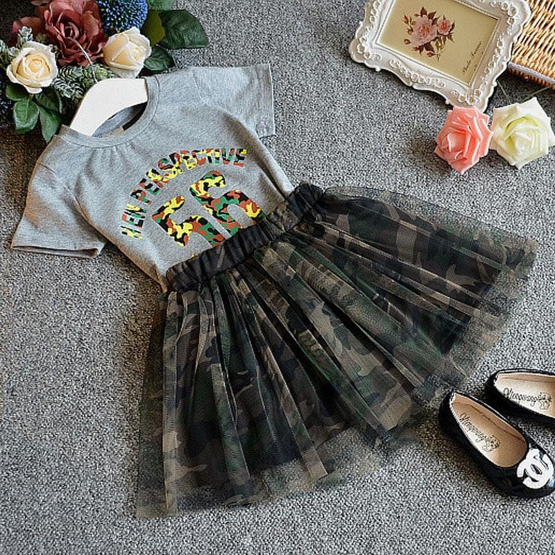 Summer Girls Dress Grey T-shirt + Camouflage Skirt Suit Kids Clothes Children Dress Set 2pcs set mother daughter kids girls summer outfits t shirt skirt tulle dress clothes set