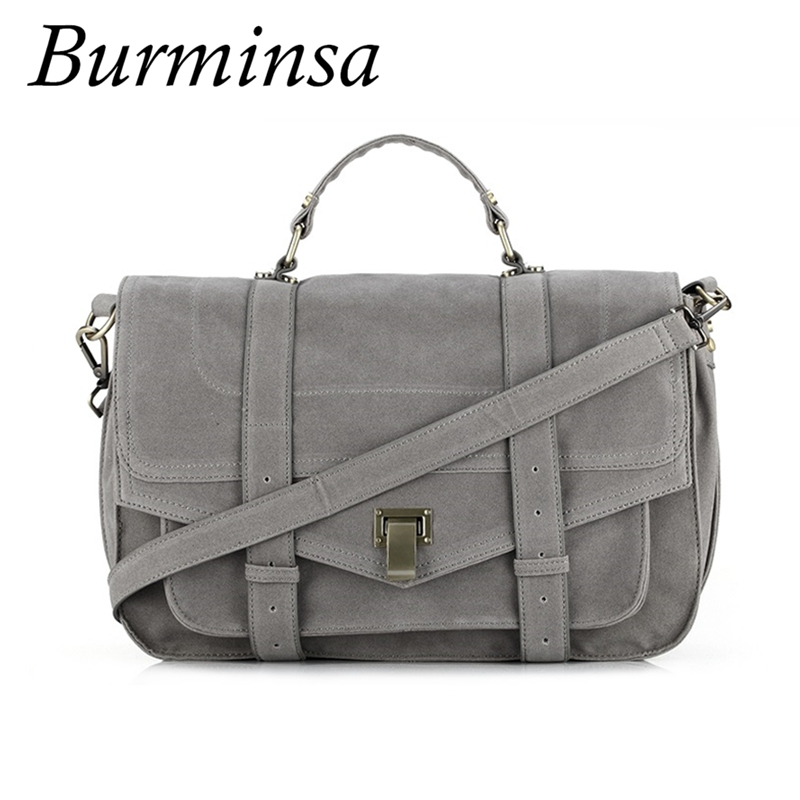 Burminsa Suede Leather Satchel Women Messenger Bags Office Ladies Briefcase Retro Designer Handbags School Shoulder Bags 2019Burminsa Suede Leather Satchel Women Messenger Bags Office Ladies Briefcase Retro Designer Handbags School Shoulder Bags 2019
