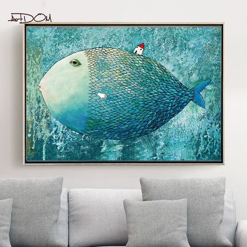 Artdom No Framed Modern Watercolor Big Fish Small House Posters Wall Art Canvas Painting Wall Pictures Home Decoration