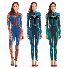 Captain Marvel Carol Danvers Cosplay Jumpsuit Costumes Avengers: Endgame Halloween Women Bodysuit Dress