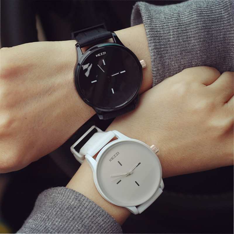 Relógios para Mulheres Mostrador do Relógio do Esporte Relógio de Quartzo das Senhoras Kezzi Marca Classic Black White Silicone Grandes Unisex Relojer Feminino