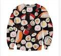 Forme a Los Hombres Y Mujeres El Pastel Jerseys Divertido 3D Sudaderas Alimentos Sushi Impresión Del O-cuello Más El Tamaño Sudaderas Sudaderas Con Capucha Tops