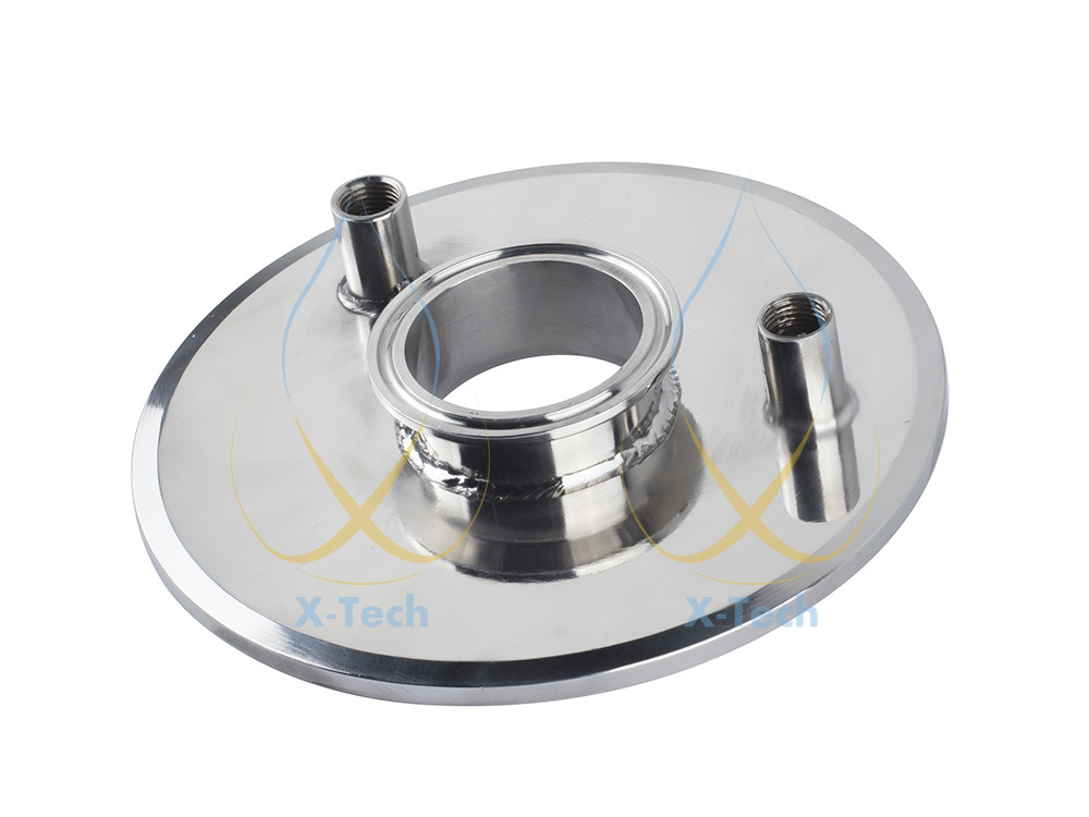 Sanitary Tank Lid. Tri Clamp 6 x 1,5 - (2x) 1/4 FNPT Steel SS304 1 4 inch mnpt x 1 5 inch tri clamp sanitary npt male adapter ss304 stainless steel