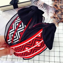 Korea Plaid Color Matching Top Knot Bow Retro Hair Accessories Band High Quality Hairband Headbands For Women