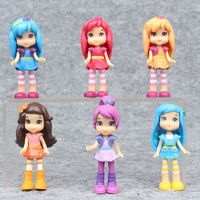 NEW Hot 7cm 6pcs Set Strawberry Shortcake Berryfest Princess Action Figure Toy Collectors Christmas Gift Doll