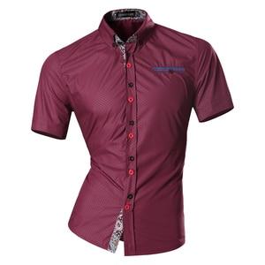 Image 4 - Jeansian hommes été mode lignes dornementation géométrique décontracté coupe ajustée à manches courtes mâle Simple couleurs chemise Z026