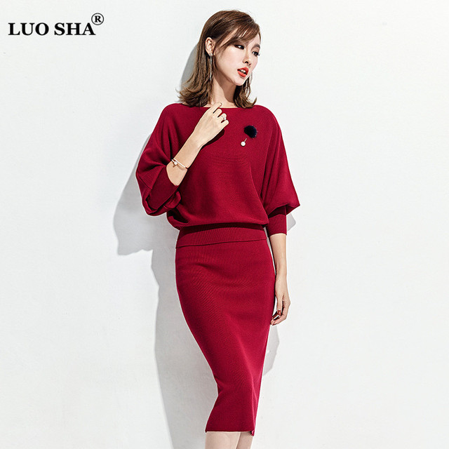 LUO SHA New Two Piece Set Women Sweatsuit Set Sweater and Skirt Elastic Solid  Women's Costumes Sweat Suits Women Tracksuit Set