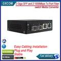 2 SFP y 2 1000 Mbps Tx Puerto Giga conmutador De Fibra Media Converter