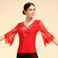 New Halfsleeve Dancing Blouse Lady Plaza Top Latin Modern Dancing Top Middle aged Square Dance Practice Costume B 6556