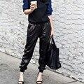 Fashion Black Faux Leather Joggers Women Loose Jogger Pants Hip Hop Street Wear Harem Pants Women