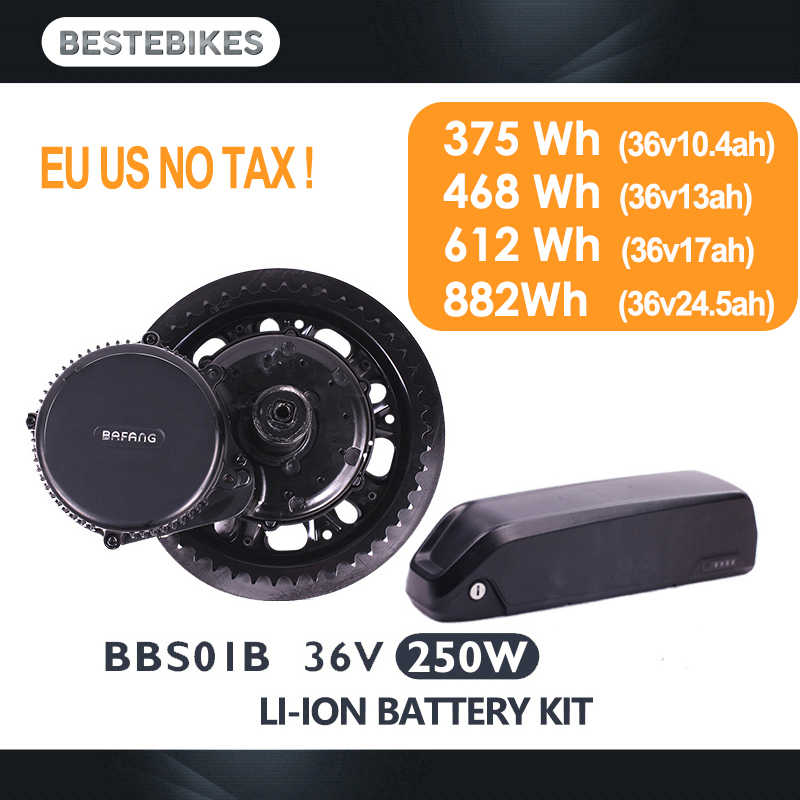 Bafang moteur BBS01B BBS01 250 W kit de conversion de vélo électrique batterie vélo batterie 36 V 10.4/13/17/24.5ah de moteur d'entraînement moyen