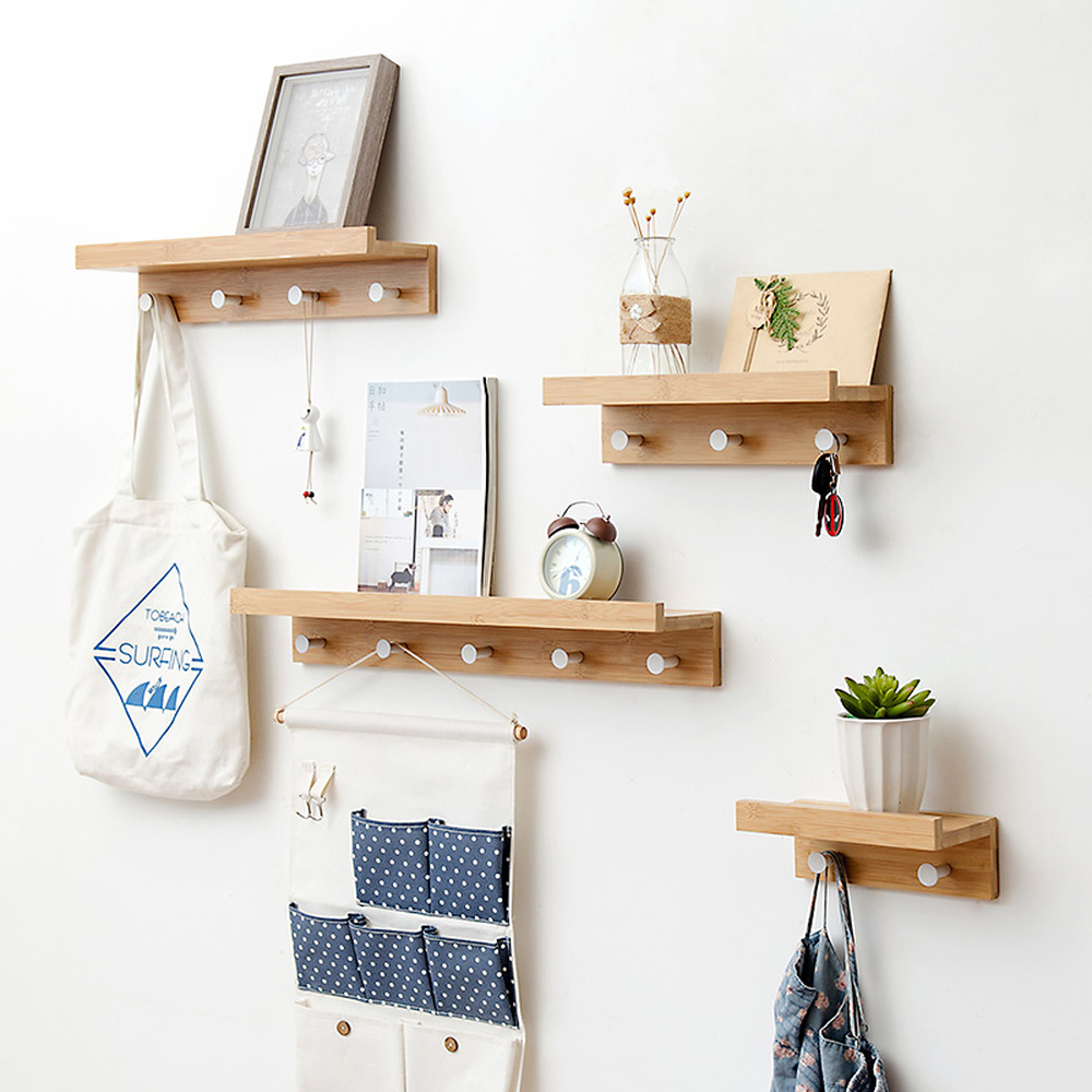 US $11.89 30% OFF|Wooden Wall Shelf Iron Partition Board Bedroom TV Wall  Hanging Storage Rack HOOK for Home & Living Room Decoration MX12071612-in  ...