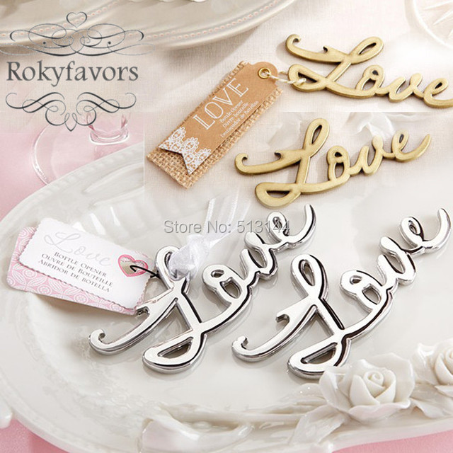 FREE SHIPPING 180PCS Silver Gold Finished Love Bottle Opener Wedding Favors Anniversary Giveaways Bridal Shower
