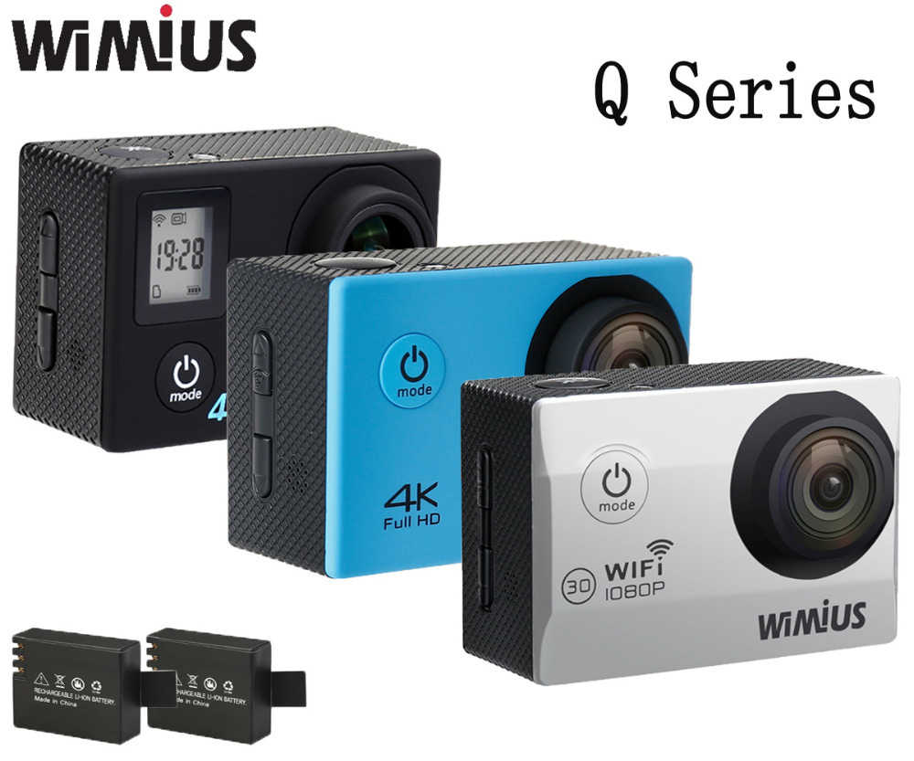 Wimius Full HD 4K/1080P Wifi Action Camera Q1 Q2 Q3 Q4 Q6 Series TWO batteries Go Waterproof Diving 40M pro Sports Video Cam DVR