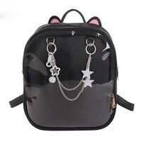 Japanese Korea Cute Cat Ears Transparent Backpack Ita Bag School Bags Girls Rucksack Kawaii Backpack PU Itabag 4 Colors