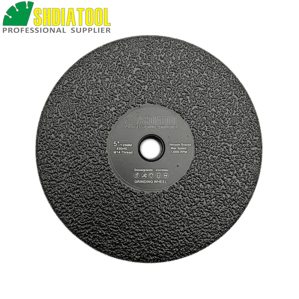 "SHDIATOOL 1pc M14 Diameter 5""/125mm Vacuum Brazed Diamond Flat Grinding Wheel Grit #30 Grinder Disc Stone Grinding Disc