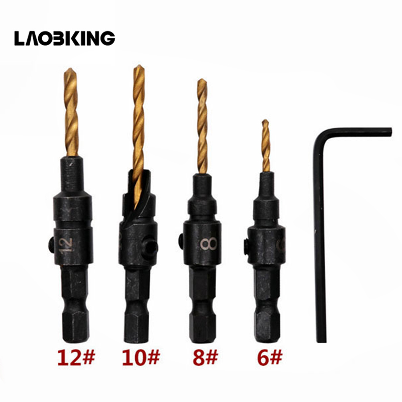 4PCS 6# 8# 10# 12# 1/4 Hex Quick Change Shank Countersink Tapered Drill Bit Cone Reaming Drill Bit Set Wood Woodworking Tools