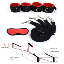 Adult Game Bdsm Bondage Under Bed Restraint Nylon Rope Plush Handcuffs Ankle Cuffs Metal Hook Sex Toys for Couples Women