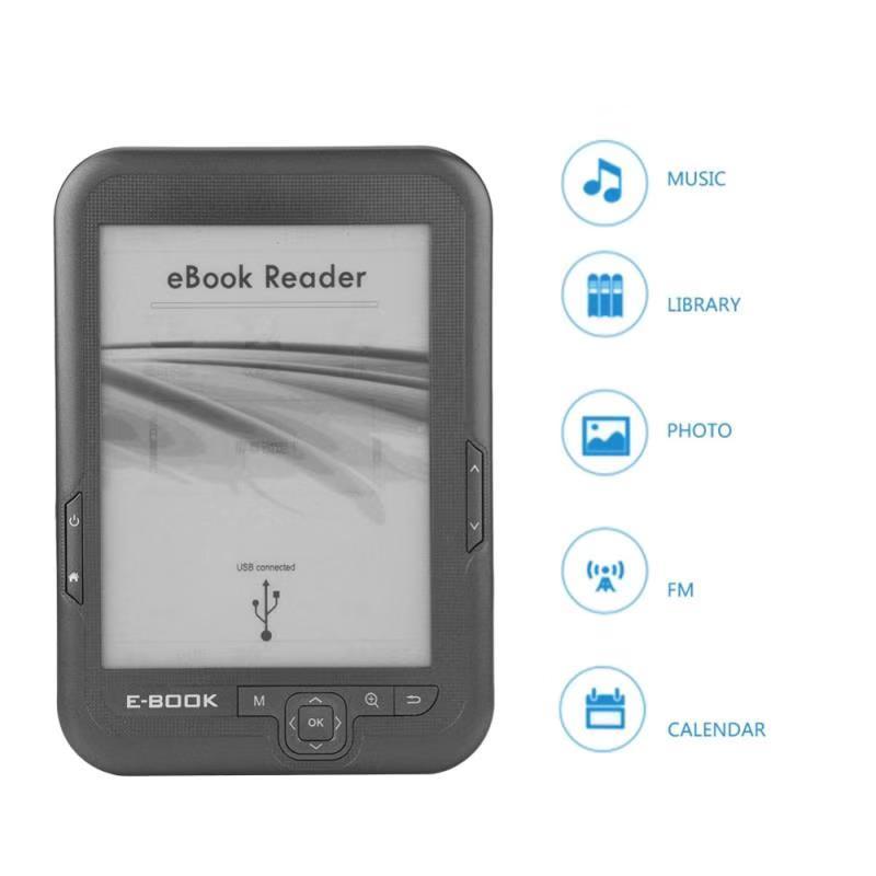 ELECTSHONG 8 GB 16 GB E lecteur de livre 6 pouces HD eink écran 2500 mAh batterie livres de poche cadeau housse en polyuréthane