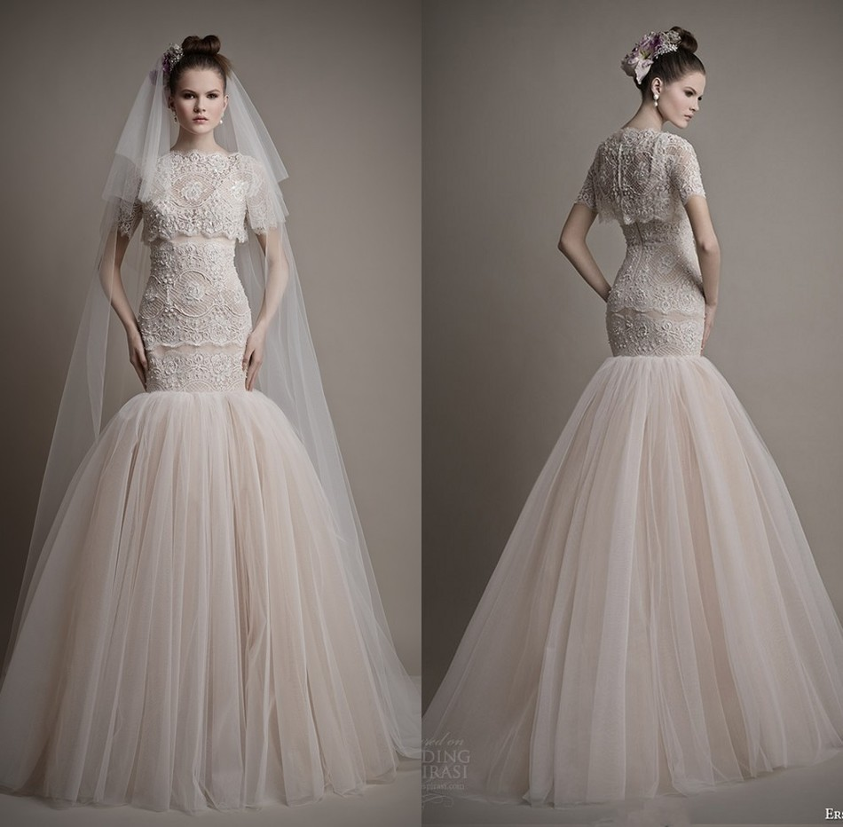 beautiful design short sleeve sexy new tulle full length 2016 wedding dress mermaid gown vestidos de