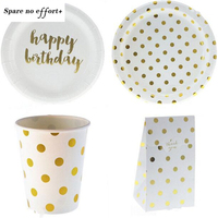Gold Dot Disposable Tableware Paper Plate/Cup/Gift Bag Table Decoration For Baby Shower Favors Birthday Party Supplies