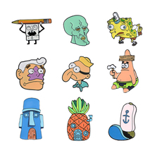 Cartoon Bob Collection! Spons Squidward Patrick Star Mermaid Man Barnacle Jongen Ananas Huis Vrienden Emaille Revers Broche Pin(China)
