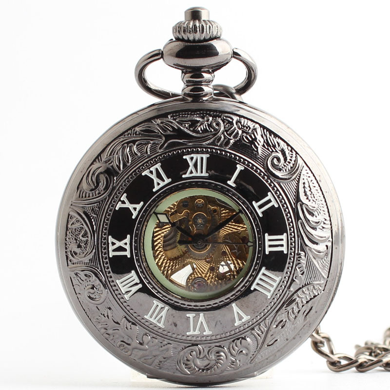 High grade automatic mechanical pocket watch Ms retro fashion clamshell cartoon male student table tungsten steel