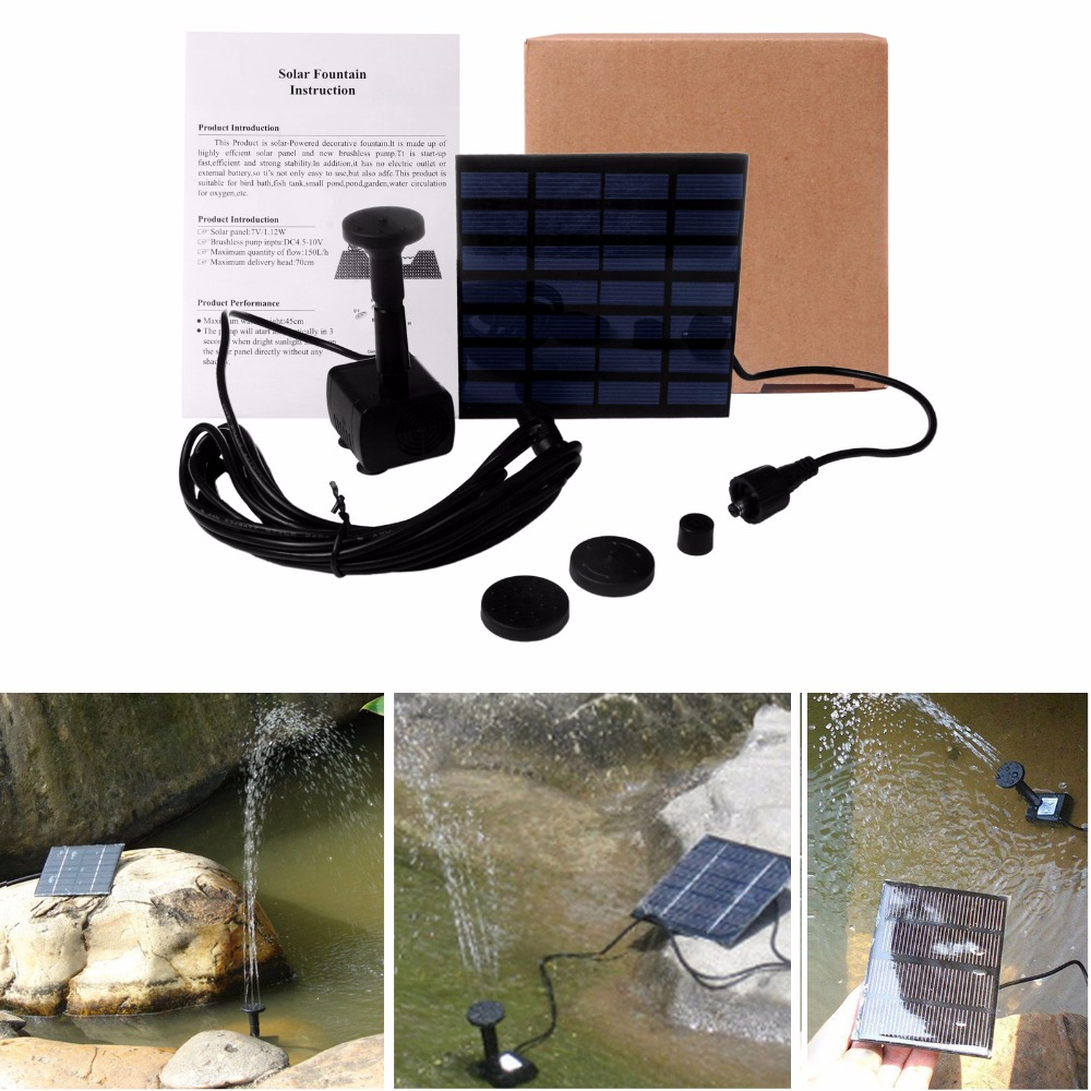 External water fountain pump - Solar Water Pump Power Panel Kit Fountain Pool Garden Pond Submersible Watering Decoration Dc 7v