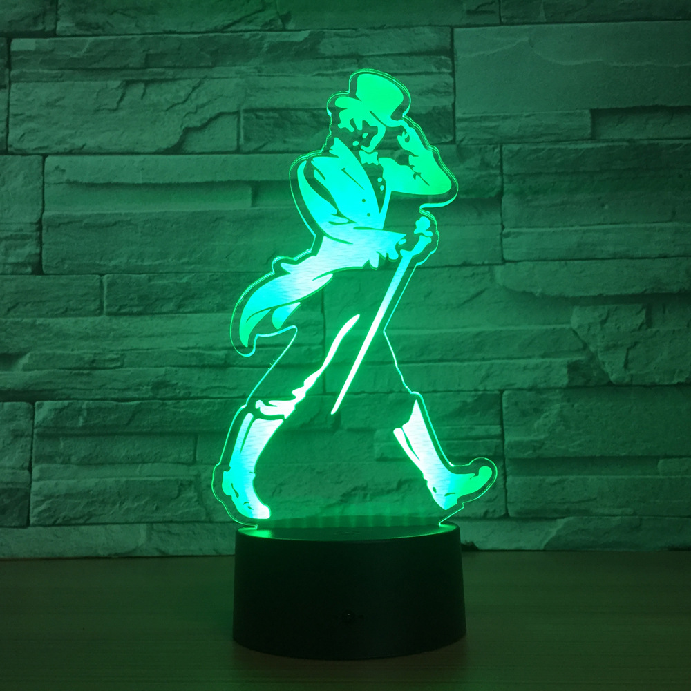 Танцор Для мужчин светодиодный 3D ночник RGB 7 цветов изменить настроение лампа Спальня удаленного Touch USB настольная лампа Дети друзья Семья best...
