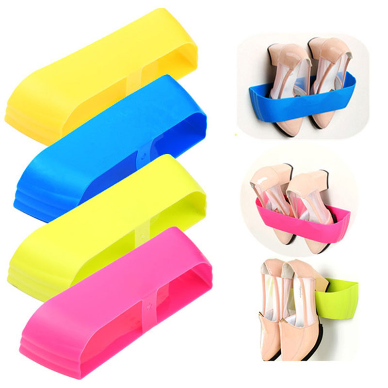 Free shipping Creative Adhesive Shoes Rack Wall Hanging Shoes Organizer Hanger Hook High Quality door hanging hook hanging wall door hanging hanger wall seamless adhesive sticky hook strong