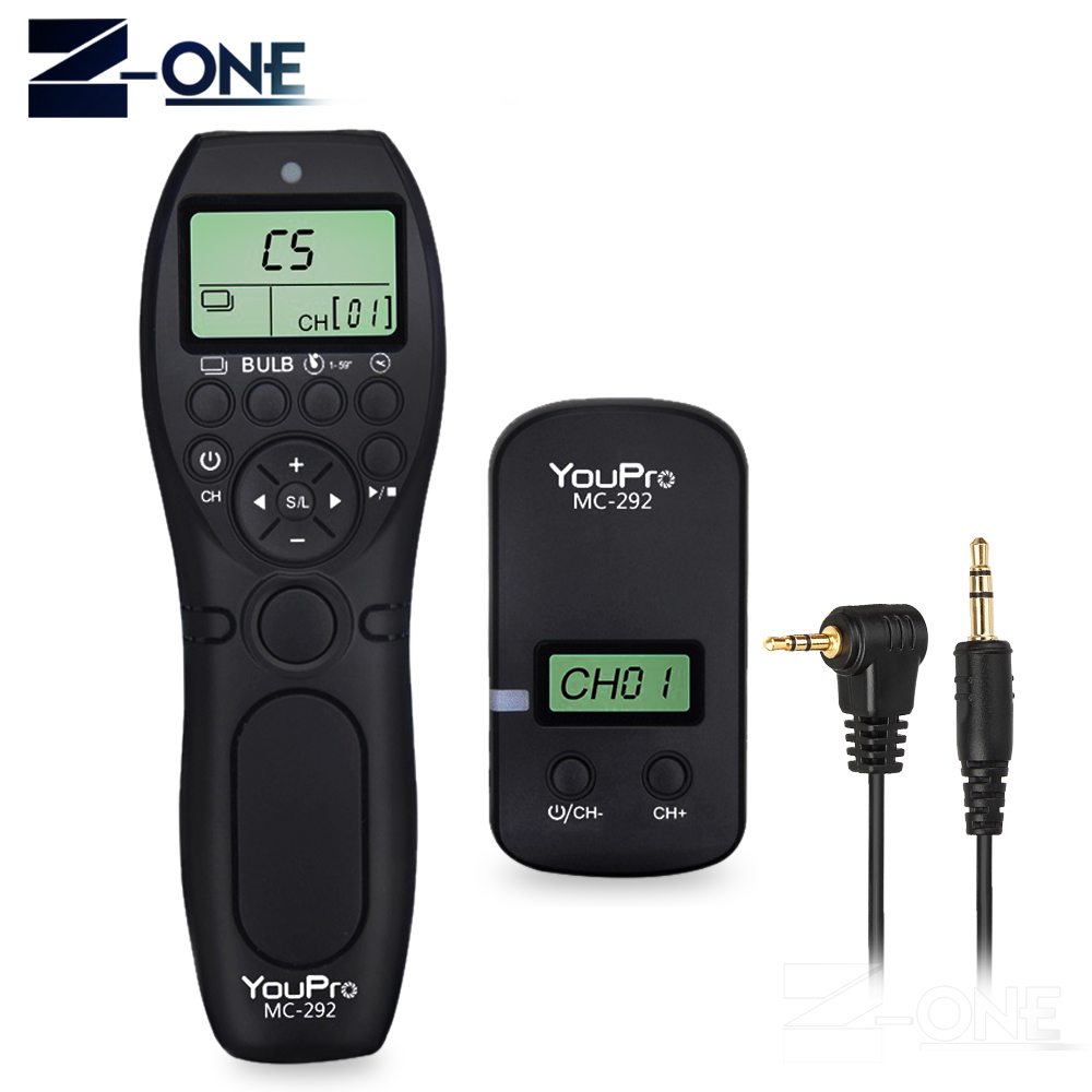 YouPro MC-292 DC0/DC2/N3/S2/E3/E2 2.4G Wireless Remote Control LCD Timer Shutter Release Channels for Canon/Sony/Nikon/FujifilmYouPro MC-292 DC0/DC2/N3/S2/E3/E2 2.4G Wireless Remote Control LCD Timer Shutter Release Channels for Canon/Sony/Nikon/Fujifilm